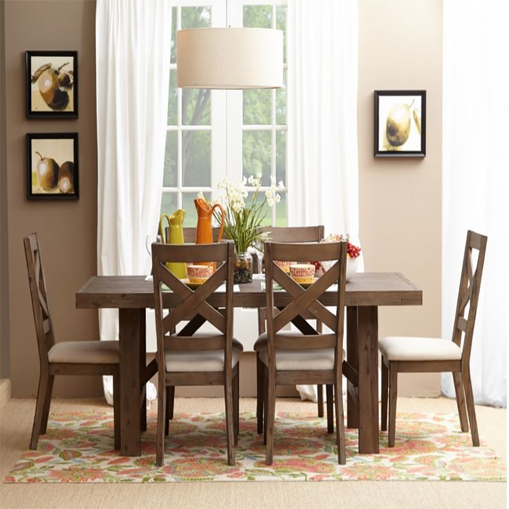 Hampton Road Trestle 7pc Dining Room Set | Dining Sets | Discount Direct  Furniture And Mattress