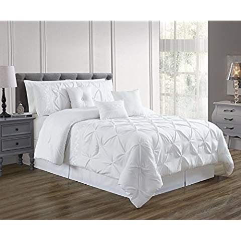 7 Pieces Full Size White Double Needle Stitch Pinch Pleat All Season Bedding Goose Down Alternative Embroidered Comforter Set Comforter Sets Duvet Sets Bed