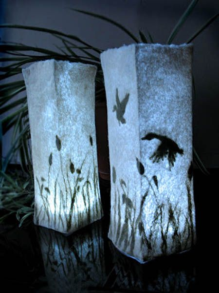 felt lamp shades with birds and flowers