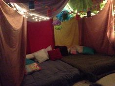 Slumber party tent I made for my 13 yr olds sleep over on her birthday