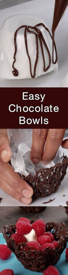 Easy Chocolate Bowls recipe and tutorial (including video!!)! Gorgeous and delicious!