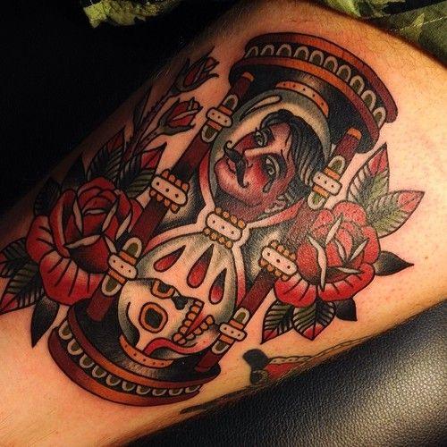 Traditional tattoos, hourglass tattoo, @salonserpentattoo