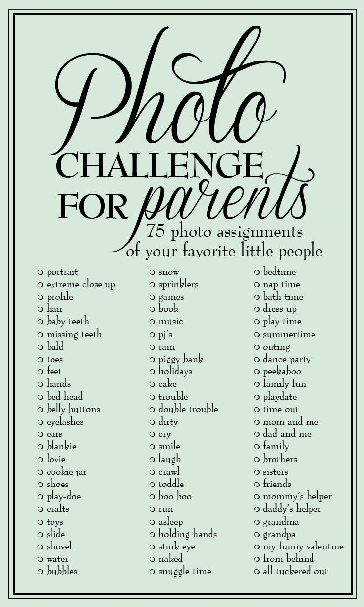 Photo Challenge for Parents: 75 photo assignments to capture your little people