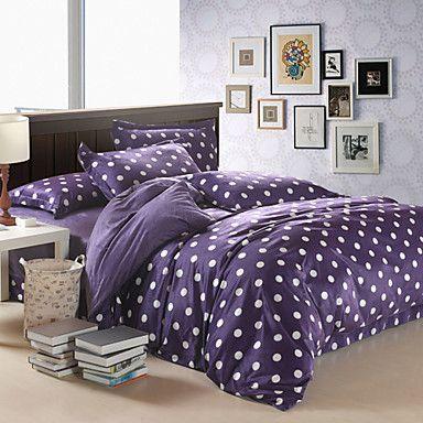 Points blancs 4 pièces modernes violet plein housse de couette en velours - CAD $ 66.69