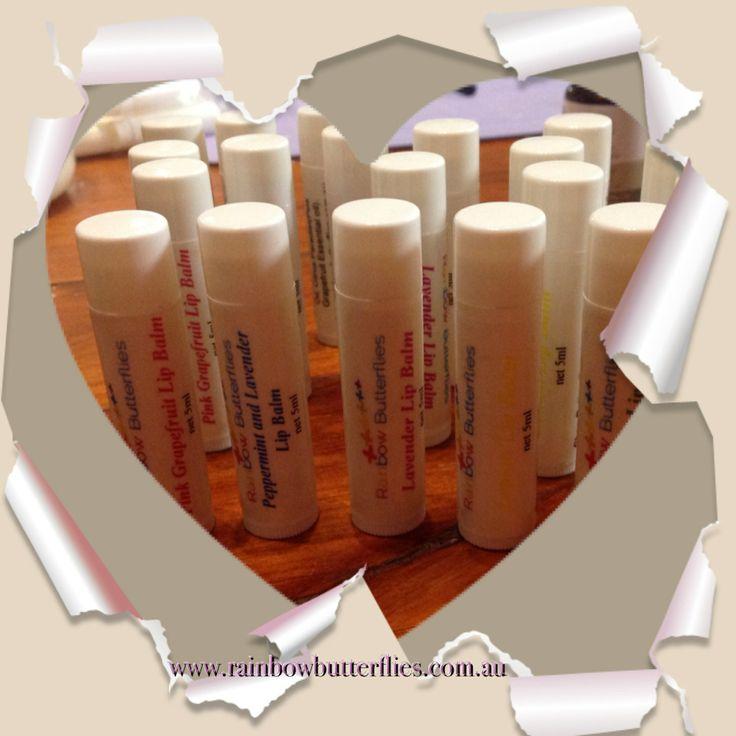Lip alms available soon at Rainbow Butterflies  5 different lip balms :  Pink Grapefruit Peppermint Lavender Lemon Peppermint and Lavender