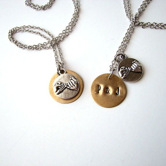 personalized pinky promise necklace SET . by friendlygesture