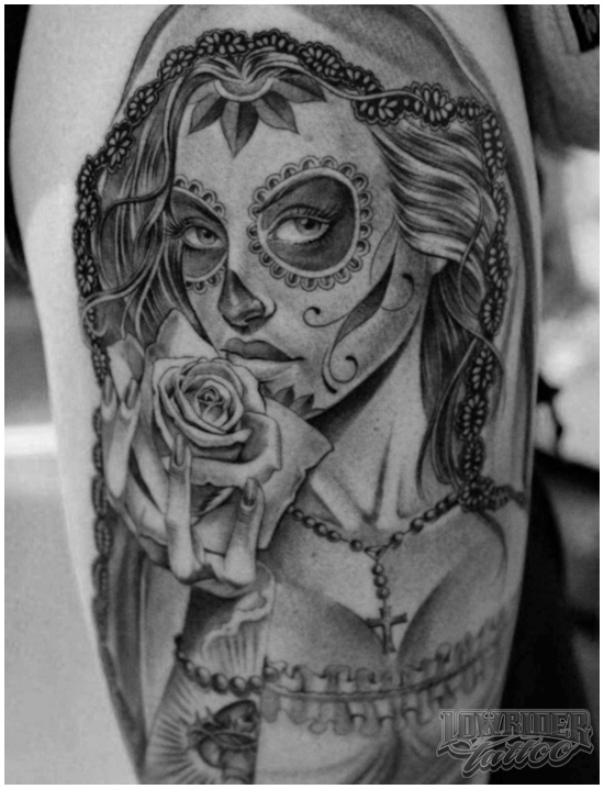 20 best images about dia de los muertos tattoos on for Skull love tattoos
