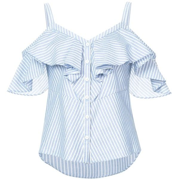 Veronica Beard Grant Cold-Shoulder Ruffled Striped Cotton Blouse (4,450 MXN) ❤ liked on Polyvore featuring tops, blouses, shirts, kirna zabete, kzloves /, stripe shop, blue cotton shirt, blue stripe blouse, cotton blouse and ruffle blouse
