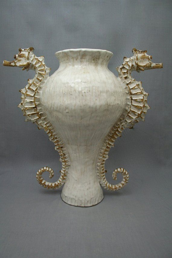 Large Ceramic Seahorse Vase / Urn by Shayne Greco Beautiful Nautical Shabby Chic Mediterranean Sculp