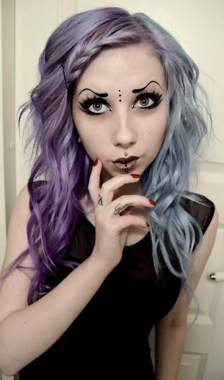 Purple Silver Hair Gothic Pastel Goth Grunge Bindi Face