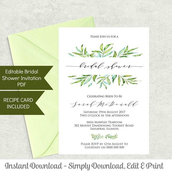 Fresh Greenery Invite perfect for the DIY Host. Simple!