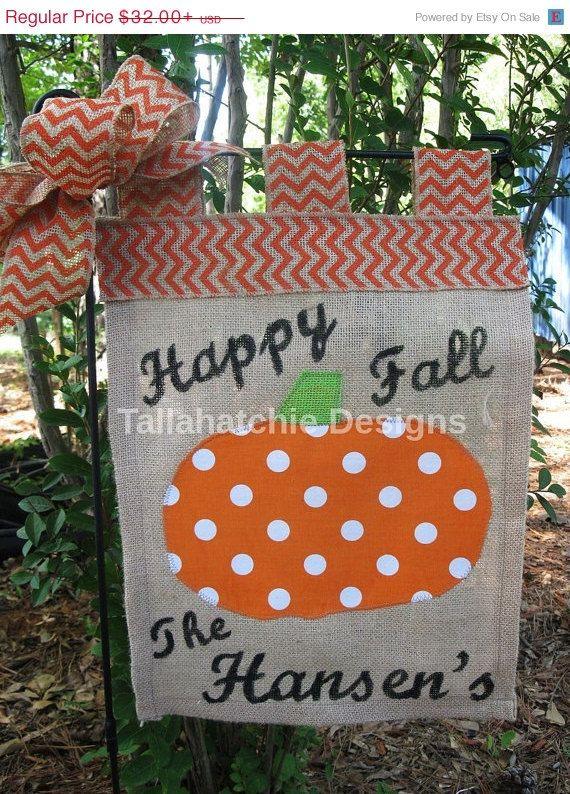 25% Off TODAY Fall Garden Flag* Pumpkin Garden Flag*Personalized Garden Flag *