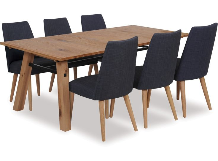 Simplicity and rustic style underpins the Stockholm extension dining table which is an entertainer's dream. Made from a combination of solid and veneer oak with a clear lacquered finish and a black lacquered steel bar detail which adds the finishing touch.  The Norway dining chairs are designed to captivate those who love the clean and simple lines of Scandinavian retro influences. Featuring angled legs and fully upholstered seat and back available in a selection of colours.