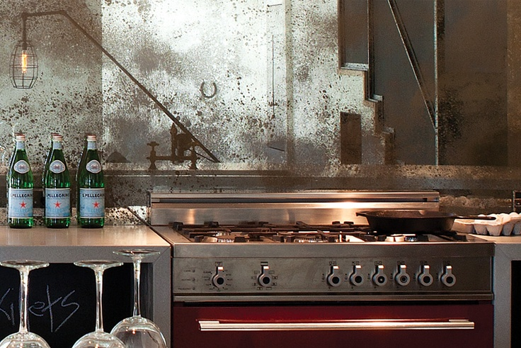 antique patina mirrors make for an unexpected backsplash distressed