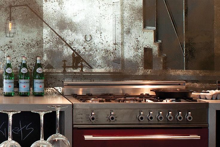 Top 73 ideas about bertazzoni kitchens on pinterest for Mirror kitchen backsplash