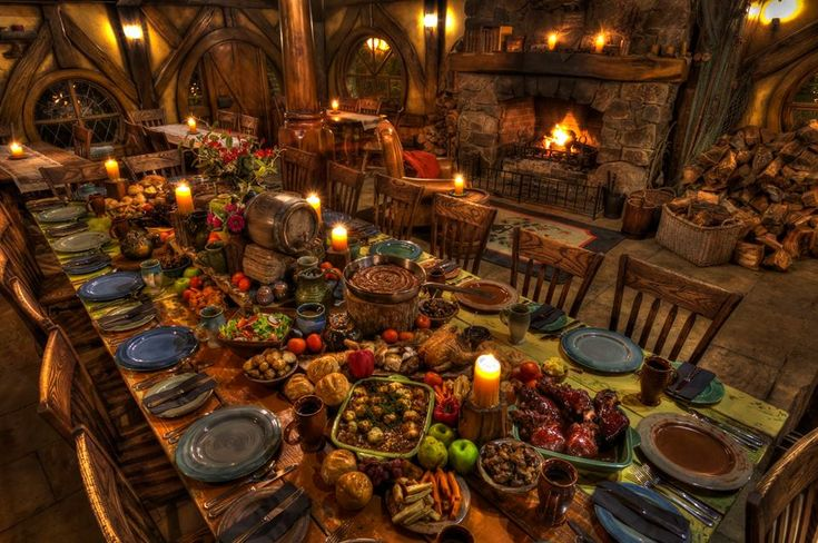 Inside The Green Dragon Inn, beside the glow of the open fire is a table heaving with traditional Hobbit fare. This truly is a banquet feast fit for a Hobbit.