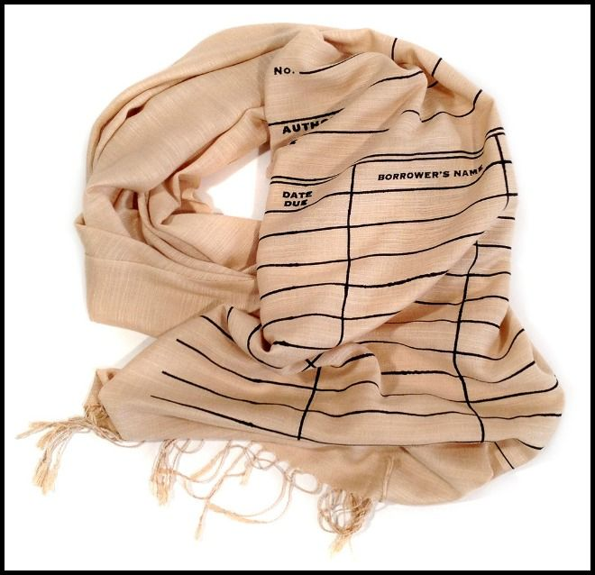 Library check out card pashmina from cyberoptix