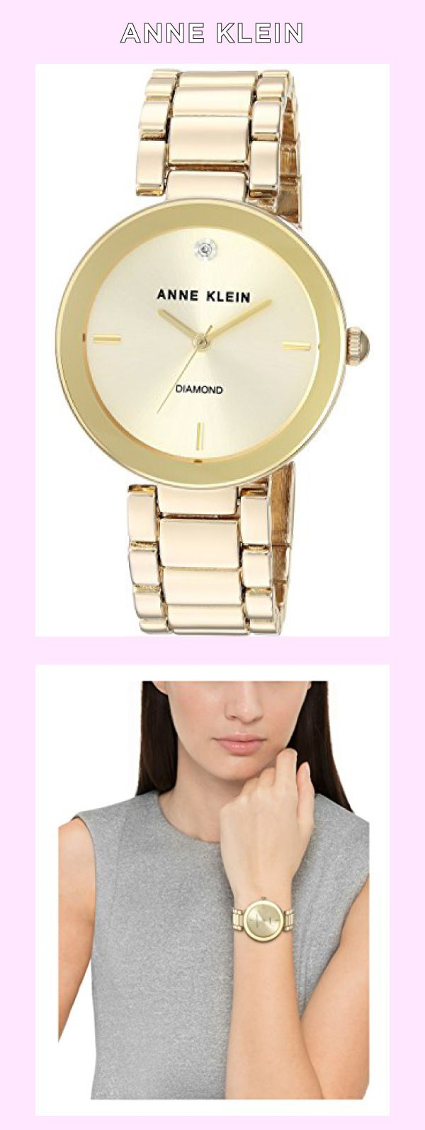 Anne Klein Women's AK/1362CHGB Diamond Dial Gold-Tone Bracelet Watch Made by #Anne Klein Color #Gold. Gold-tone watch with minimalist sunray dial featuring printed logo and diamond marker at 12 o'clock. 32 mm metal case with mineral dial window. Japanese quartz movement with analog display. Gold-tone link bracelet with jewelry-clasp closure. Not water resistant