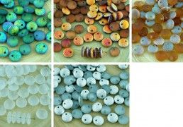 40pcs Matte Crystal Rough Rustic Etched Frosted Large Lentil Czech Glass Beads Flat Round One Hole 8mm