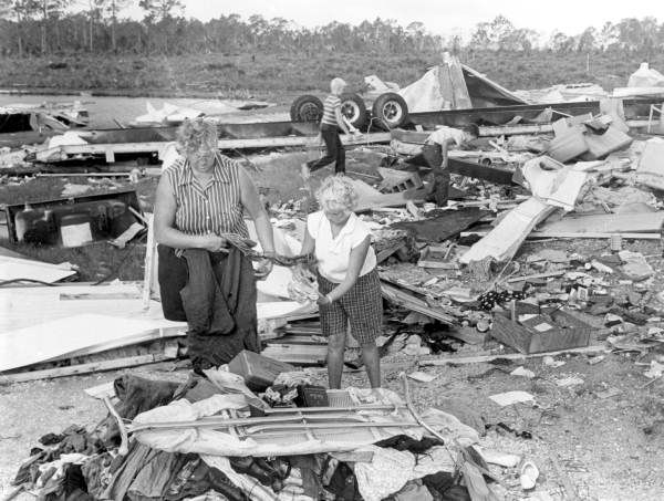 Florida Memory - Families survey damage at trailer park by Hurricane Donna - Fort Myers, Florida 1960