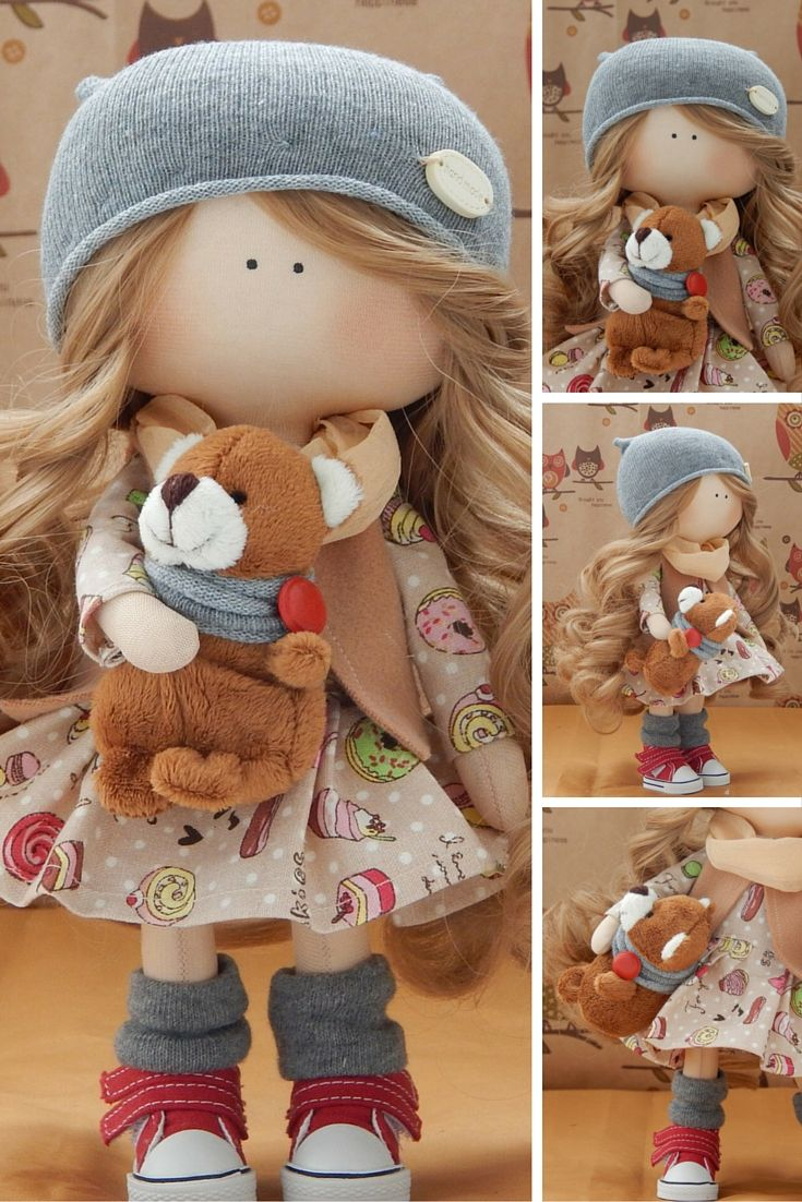 Handmade doll Fabric doll Tilda doll blonde brown color Soft doll Cloth doll…