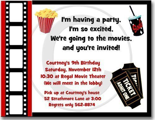 Movie Night Birthday Party Invitations - Set of 20 by Bless Express. $18.00. From BlessExpress.com Lights, Camera, Action! Our movie themed birthday party invitations will be a huge hit. We have the ideal invitation for a kids movie party, adult birthday party or movie night party theme. Your choice of wording.
