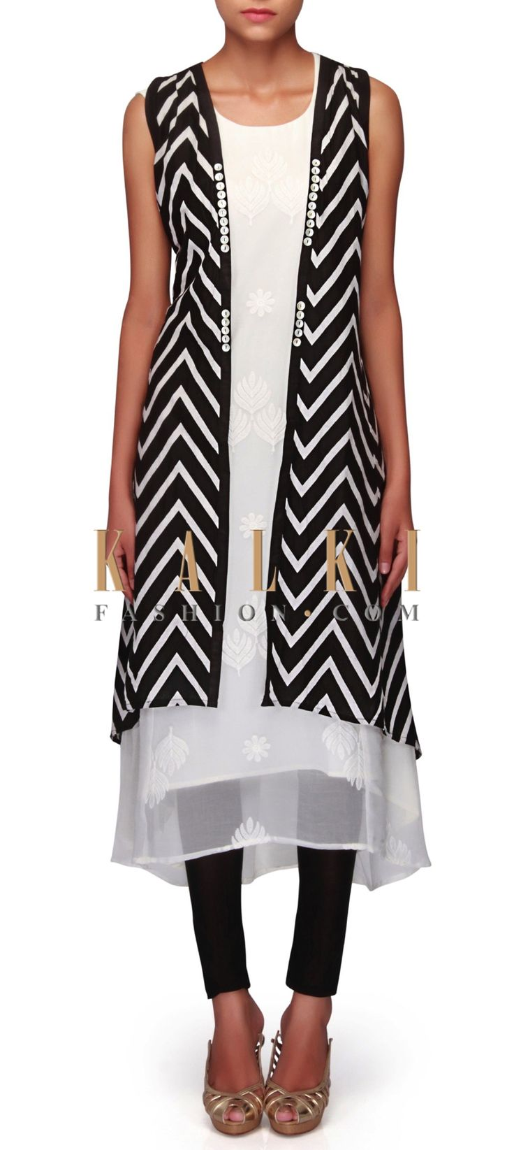 White and black kurti in thread and zig zag print only on Kalki