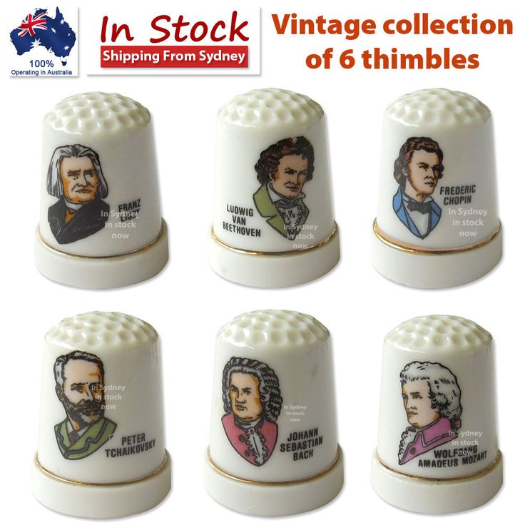 Vintage collection of 6 thimbles Lot #1