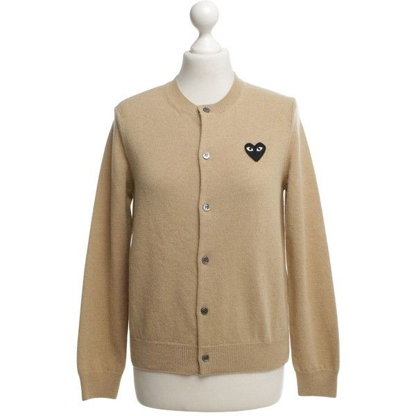 Pre-owned Cardigan wool in beige (9.530 RUB) ❤ liked on Polyvore featuring tops, cardigans, beige, cardigan top, heart tops, crew neck cardigan, crew neck tops and comme des garcons top