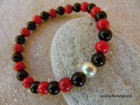 Luxurious Men's Wristband with Black Onyx, Dark Red Coral and Sterling Silver Ball