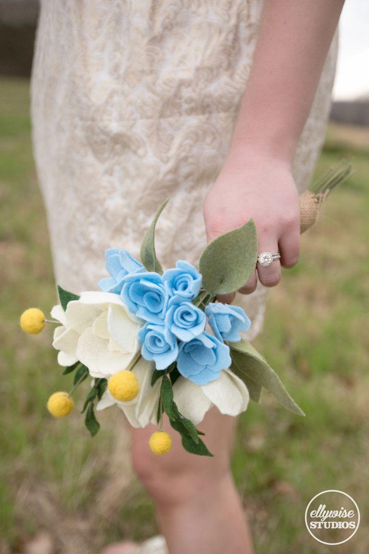 Rehearsal bouquet Cinderella style spring blue gold rehearsal dress felt flowers Ellywise Studios memphis