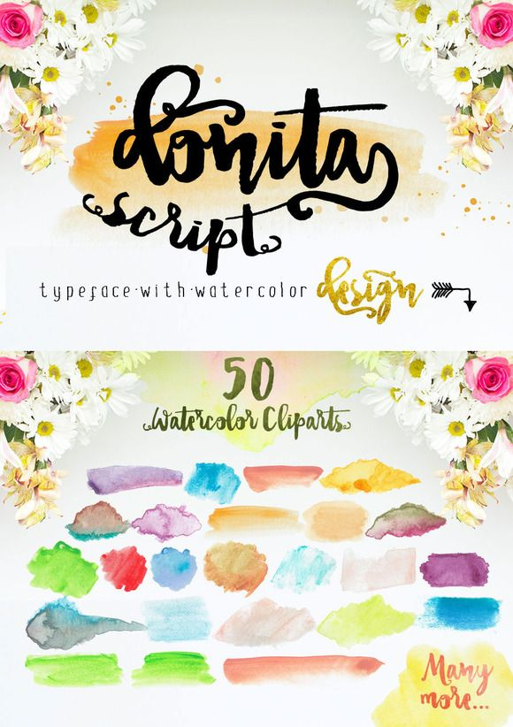 Donita Script with Bonus Watercolor by mycandythemes on Creative Market