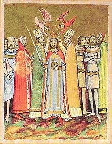 King Saint Ladislaus I of Hungary being crowned by angels. Image from the Chronicon Pictum of the 14th century.