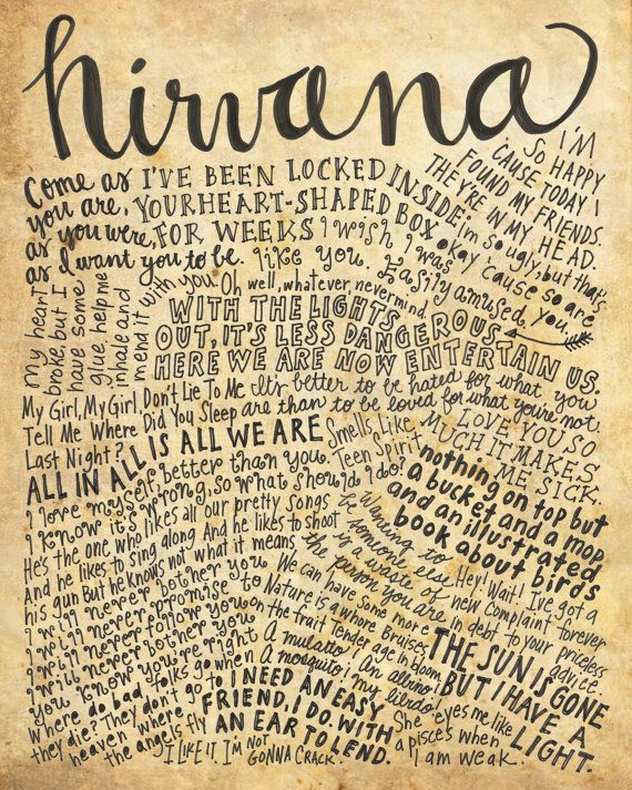 Nirvana Lyrics and Quotes  8x10 handdrawn and by mollymattin