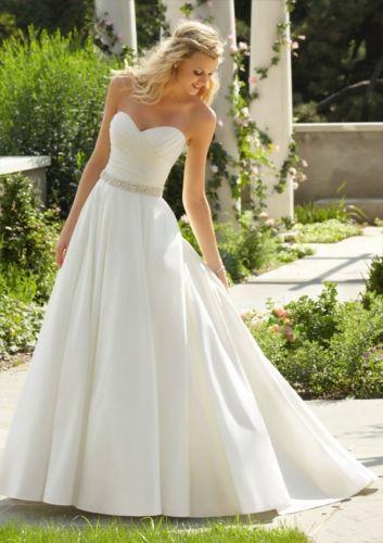 Bridal wedding dress a-line taffeta custom size sequins train size 2-28 | eBay