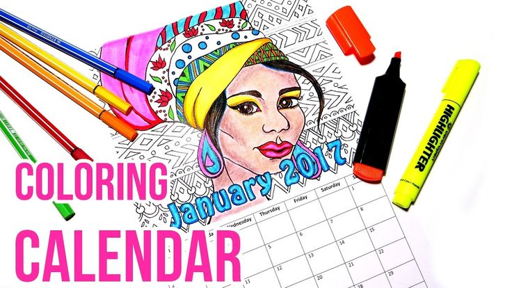 2017 Coloring Calendar || Coloring with Stabilo Pens. I made a coloring calendar for 2017! I'm coloring the January page in this video using mostly Stabilo pens. I also filled in bigger areas with highlighters and used pastel pencils for the skin.