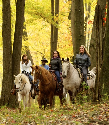 Horseback riding is a year-round outdoor activity in the Pocono Mountains, and is a great way to view stunning fall foliage! #PoconoMtns