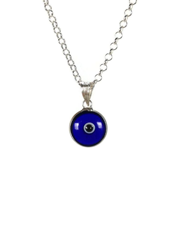pendentif oeil bleu fonce sur chaine en argent 925