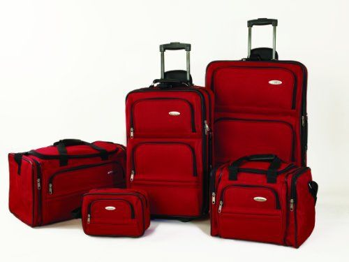 "New Trending Luggage: Samsonite 5 Piece Nested Luggage Set, Red. Samsonite 5 Piece Nested Luggage Set, Red   Special Offer: $139.95      122 Reviews 44064-2154 Color: Red Features: -Set includes: 26"" upright, 22"" upright, travel duffel, travel tote and toiletry kit. -Fully lined interior. -EVA foam front panel for a clean, tailored..."