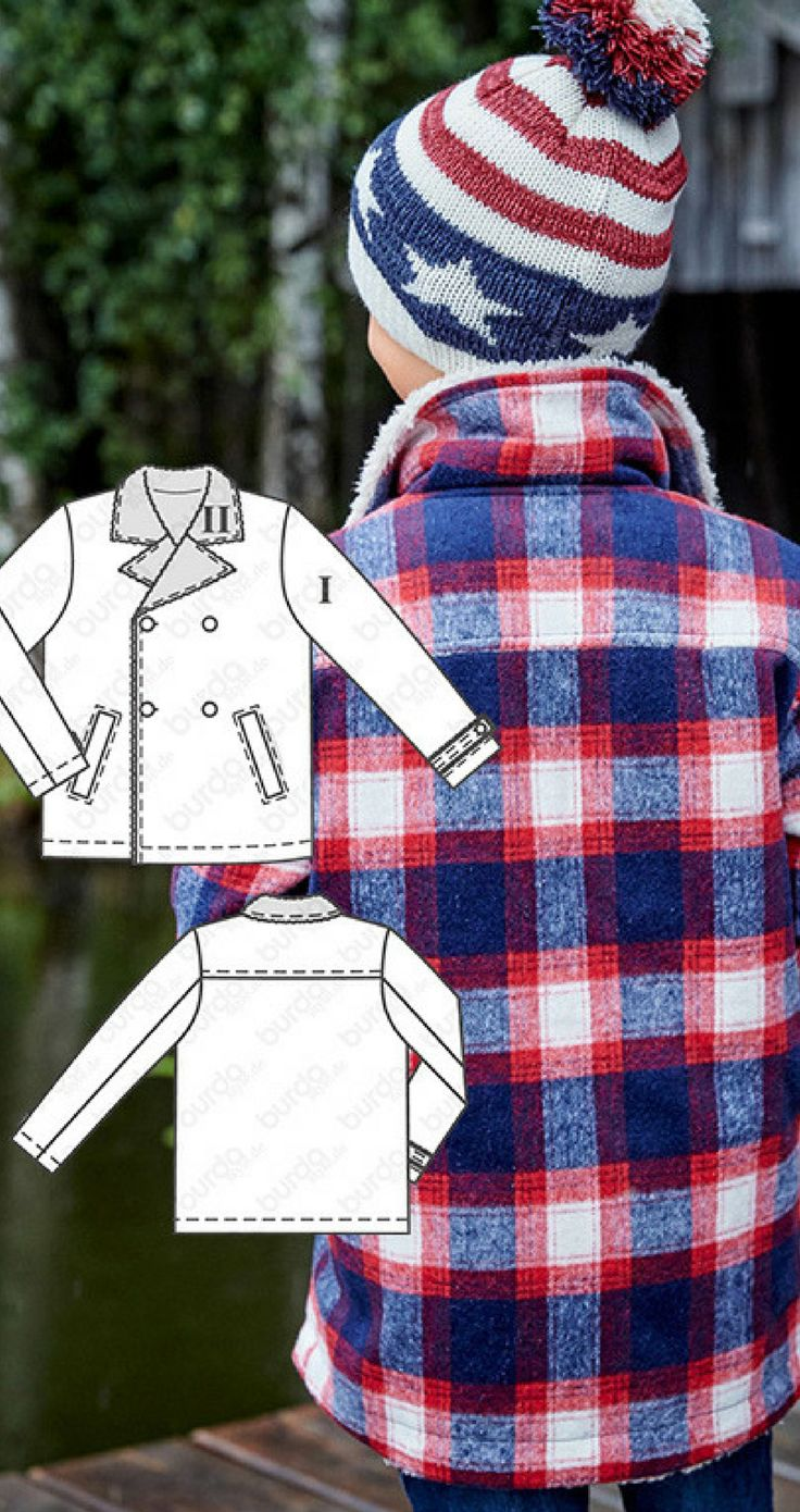 Wool fabric, plush fabric and a quilted lining…the double breasted jacket is finished with tabs at the sleeve hems to keep kids warm all winter long. Cold hands can tuck into the welt pockets. Children's jacket sewing pattern available for download.afflink