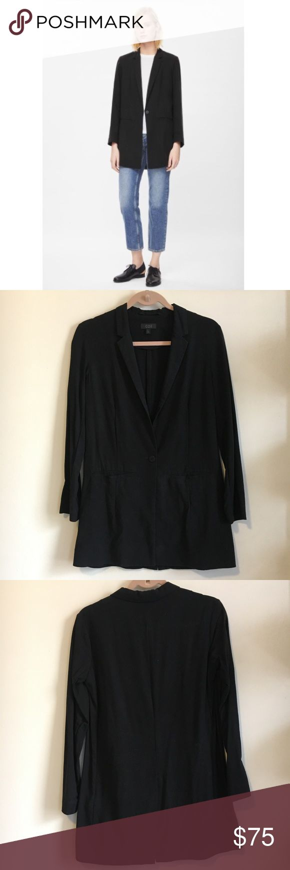 COS Long Slim-fit Blazer Made from lightweight unlined fabric with a subtle textured feel, this blazer has a tailored slim fit... elongated style, with a deep v-neckline, narrow notched lapels and two welt pockets on the front... needs a good iron/steam 😉 but in great condition overall (wore this 2-3 times) COS Jackets & Coats Blazers