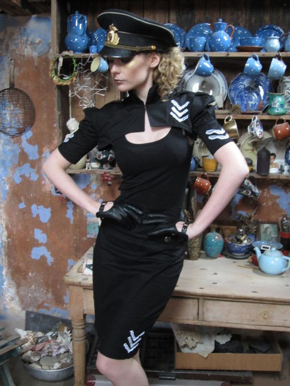 Black aviator shrug with white lace  by blackmirrordesign on Etsy, $65.00