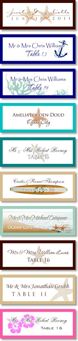 Beach wedding starfish sand dollar escort cards, Message in a bottle escort thank you cards custom table cards, seating charts