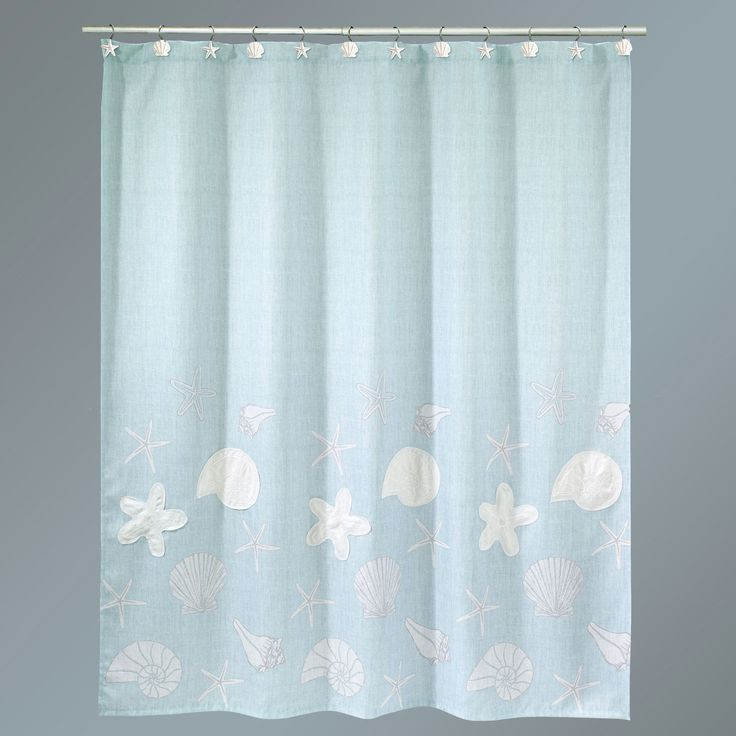 sequin shells shower curtain pale aqua 72 x 72