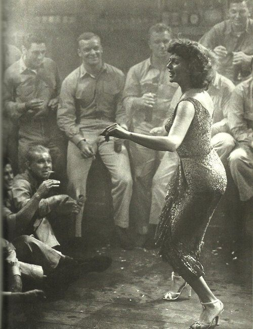 a-real-nowhere-tambourine-man:    Rita Hayworth and Aldo Ray (in the background) in Miss Sadie Thompson, 1953