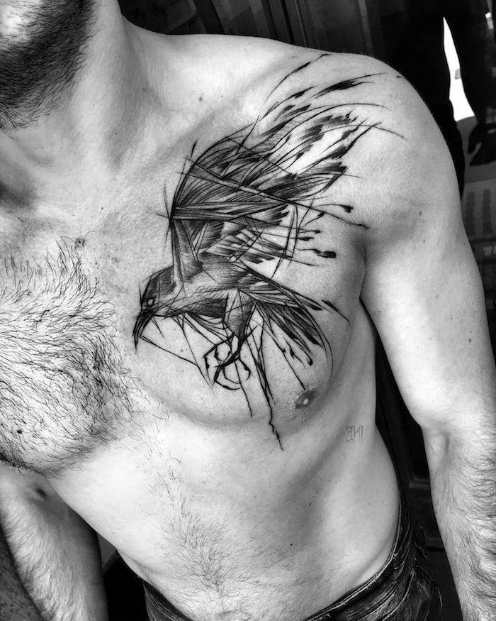 tattoo brust schriftzug mann