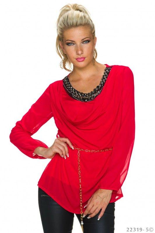 Rode blouse met opvallende hals lijn