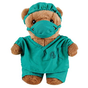 "Here's a great graduation gift or a treat just for you: Prestige Medical 10"" Doctor Scrub Bear"