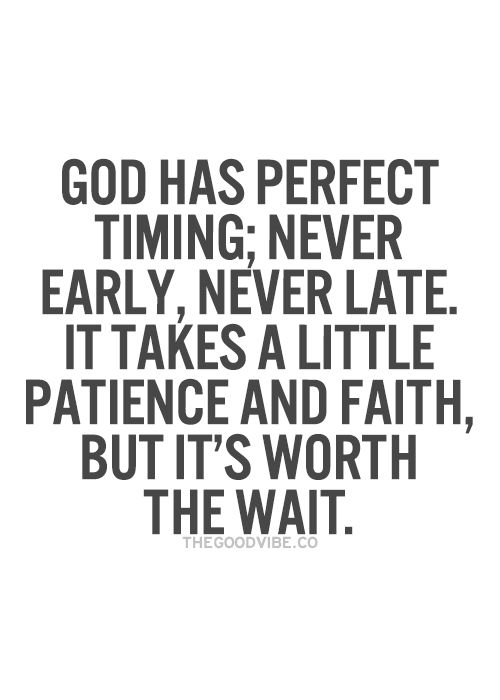 God Has Perfect Timing Never Early Never Late It Takes A Little