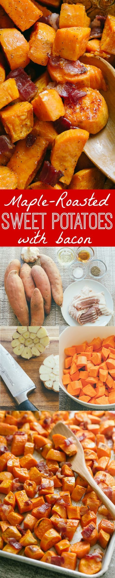 Make Maple Roasted Sweet Potatoes and Bacon once and you'll make them again and again! These roasted sweet potatoes are sweet/salty/savory and delicious.   http://natashaskitchen.com
